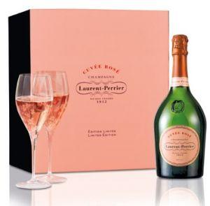 Confezione Champagne Cuvée Rosé Con 4 Bicchieri Laurent Perrier