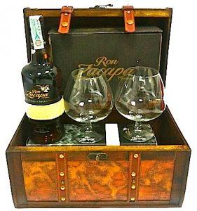Confezione Baule Rum Centenario Carta Nera e 2 Bicchieri Zacapa