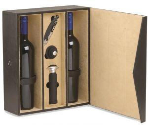 Cassetta Vuota Finta Pelle Onice Per 2 Bottiglie con Accessori