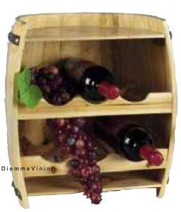 Cantinetta Botte Legno Porta 6 Bottiglie