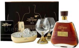 Confezione in Noce con 2 Bicchieri Ballon Degustazione e Rum XO Zacapa