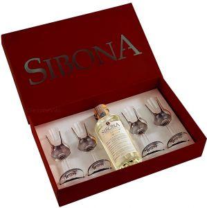 """Confezione Poker """" Grappa+ Bicchieri"""" Sibona"""