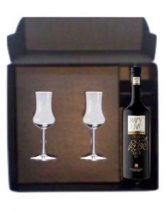 Confezione Grappa Prime Uve + Bicchieri Grappa Maschio