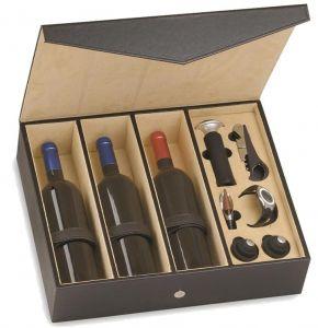 Cassetta Vuota Finta Pelle Onice Per 3 Bottiglie con Accessori