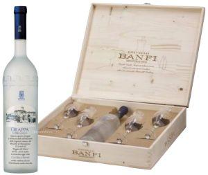 Cassa Legno Grappa di Brunello + 4 Bicchieri Da Vinci Castello Banfi