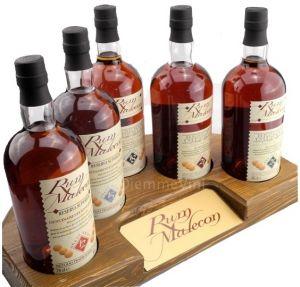 Espositore in Legno Degustazione 5 Bottiglie Rum Malecon