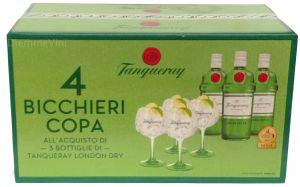 Confezione 4 Bicchieri  Coppa + 3 Bottiglie London Dry Gin Tanqueray