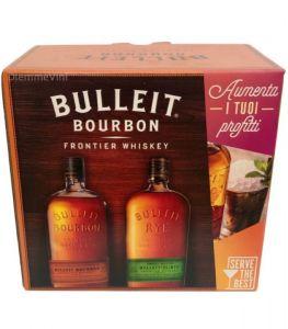 Confezione 2 Bottiglie Whisky + 4 Bicchieri Jar Bulleit