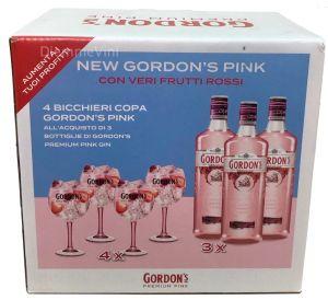 Confezione 3 Bottiglie Gin Premium Pink + 4 Bicchieri Coppa Pink Gordon's
