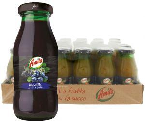Confezione 24 Bottiglie Vetro cl. 20 Succo Mirtillo Amita