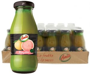 Confezione 24 Bottiglie Vetro cl. 20 Succo Pompelmo Rosa Amita