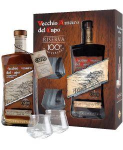 Vecchio Amaro Del Capo Riserva del Centenario Con Due Bicchieri Caffo