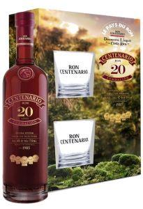 Confezione Rum Centenario Fundacion 20 Anni Riserva Canister + 2 bicchieri  Centenario Ron