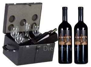 Bauletto Pelle Nera con Decanter Bicchieri e 2 Bt. Gravner