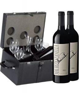 Bauletto Zanella Pelle Nera con Bicchieri e Decanter Ca' Del Bosco