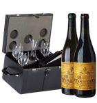 Bauletto Pelle Nera Decanter e Bicchieri con 2 Bt. Valentini